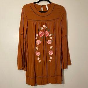 Xhilaration | Embroidered Bell Sleeve Dress Sz M